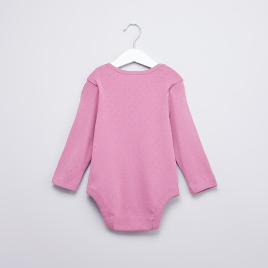 Textured Bodysuit with Long Sleeves and Button Closure