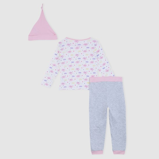 Printed Round Neck Long Sleeves with Pyjama set and Cap