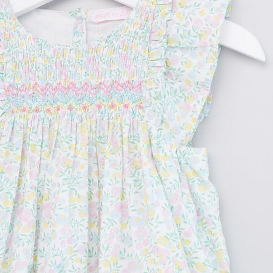 فستان بطبعات زهرية مع سراويل تحتانية