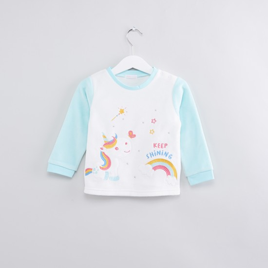 Embroidered Long Sleeves T-Shirt with Jog Pants