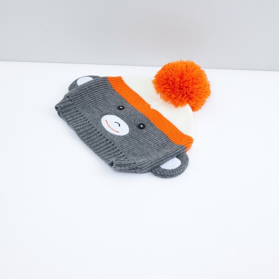 Pom-Pom Detail Beanie Cap with Scarf