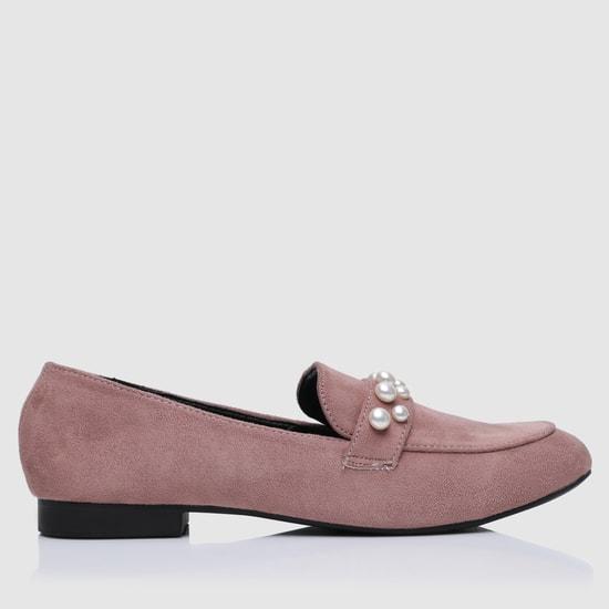 Pearl Embellished Slip-On Shoes
