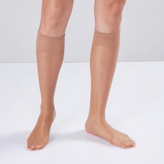 Set of 2 - Solid Skin Knee High Socks