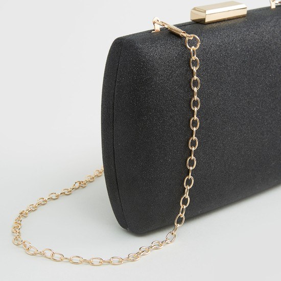 Shimmery Detailed Clutch with Press and Lock Closure