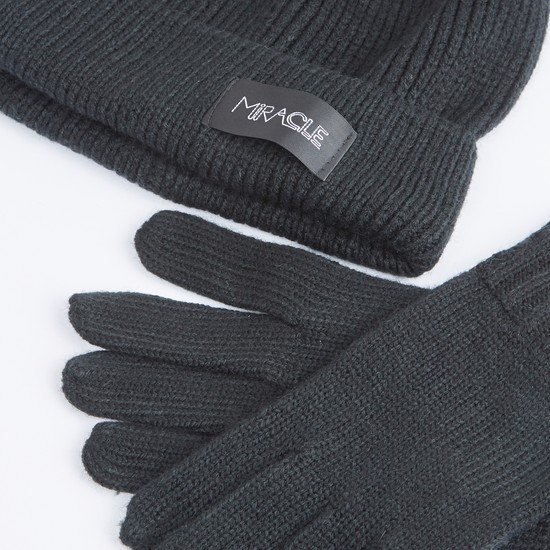 Ribbed Beanie Cap with Gloves