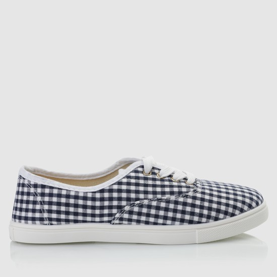 Chequered Lace-Up Tennis Shoes