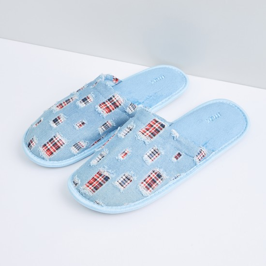 Plush Bedroom Slides with Patch Detail