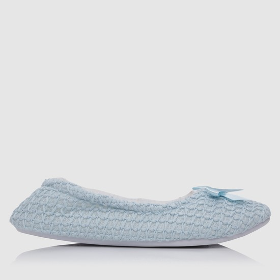 Textured Bedroom Shoes with Applique