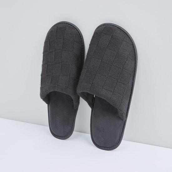 Textured Plush Bedroom Slides