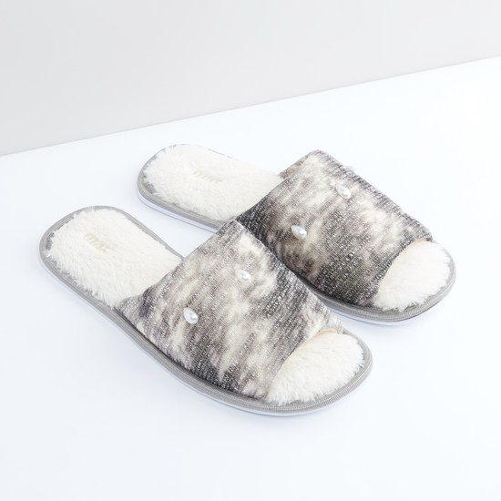 Plush Bedroom Slides with Pearl Detail