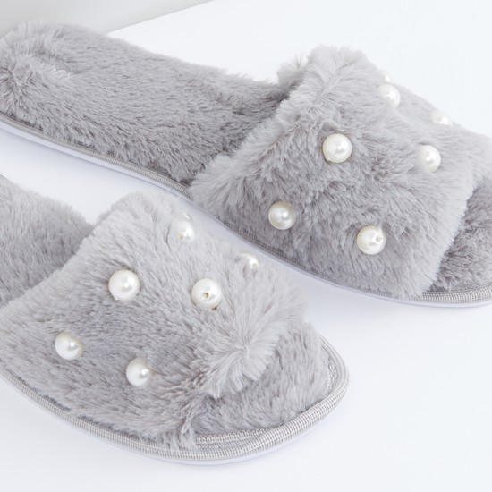 Plush and Pearl Detail Bedroom Slides
