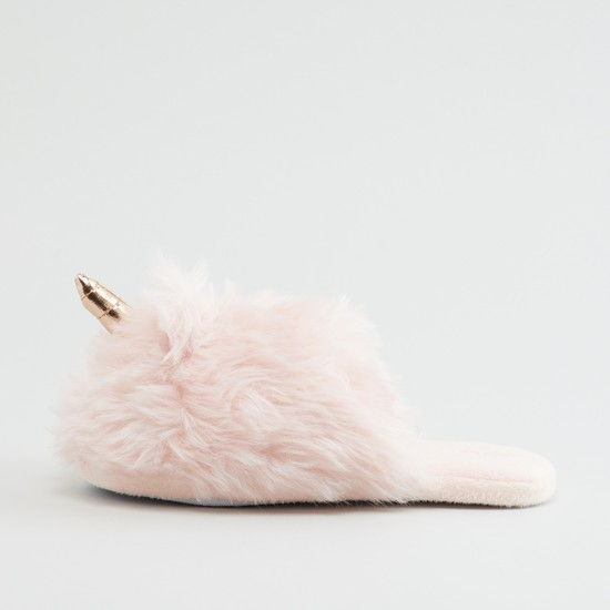Plush Bedroom Slippers with Applique Detail