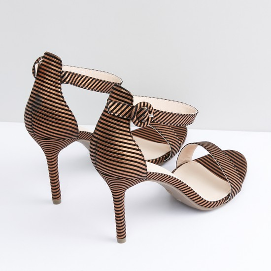 Striped Sandals with Ankle Straps and Pin Buckle Closure