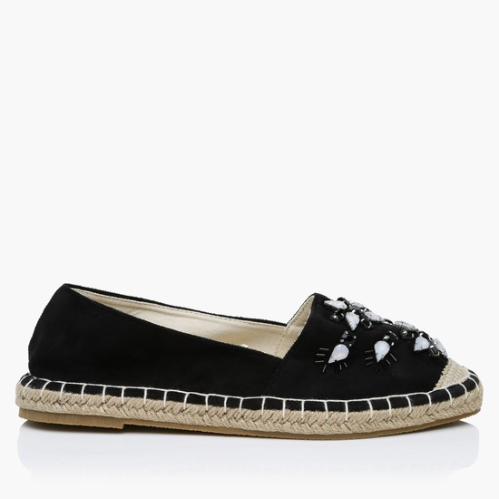 Embellished Slip-On Espadrille Shoes