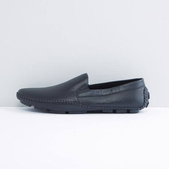 Textured Slip-On Moccasins with Gussets