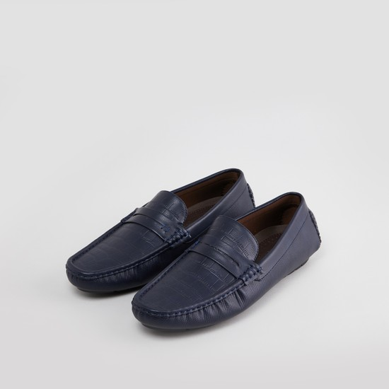 Textured Loafers with Stitch Detail