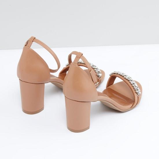 Embellished Block Heel Sandals with Adjustable Ankle Strap