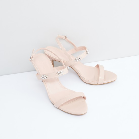 Studded Sandals with Pin Buckle Closure