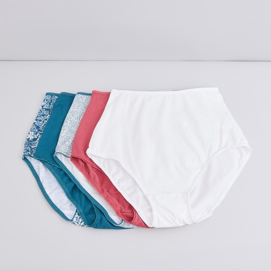Assorted Full Briefs with Elasticised Waistband - Set of 5