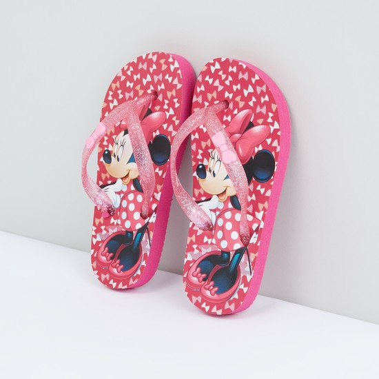 Minnie Mouse Printed Flip Flops with Glitter Straps