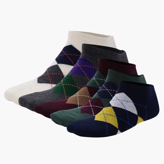 جوارب بطول الكاحل بنقش مطبوع - طقم من خمسة ازواج