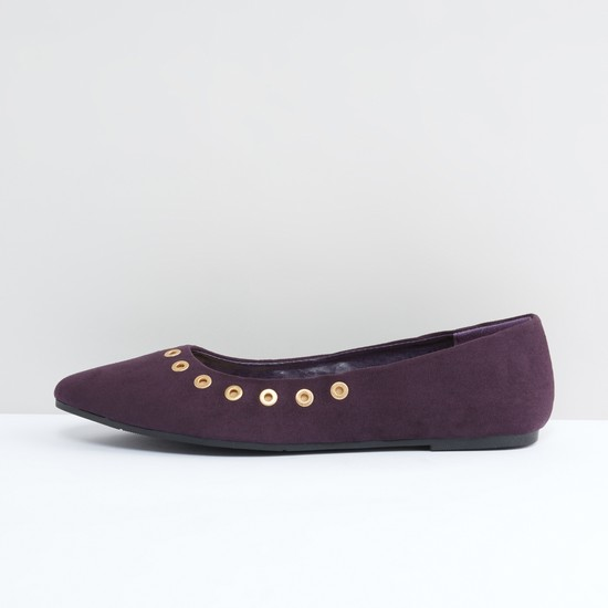 Eyelet Detail Slip-On Ballerina Shoes