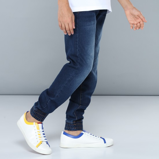 Full Length Denim Jog Pants with Elasticised Waistband