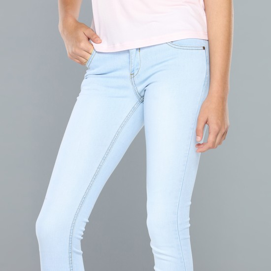 Solid Full Length Jeans with Button Closure