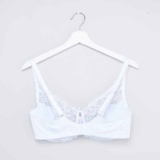 Lace Trim Bra with Hook and Eye Closure