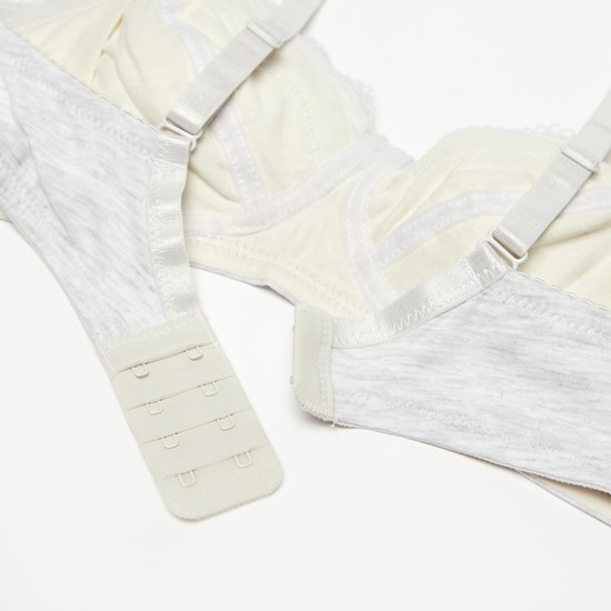Lace Detail Nursing Bra with Hook and Eye Closure