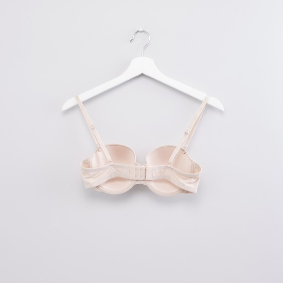 Padded Balconette Bra with Adjustable Straps and Hook and Eye Closure