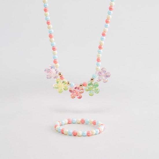 Beaded 2-Piece Necklace and Bracelet Set
