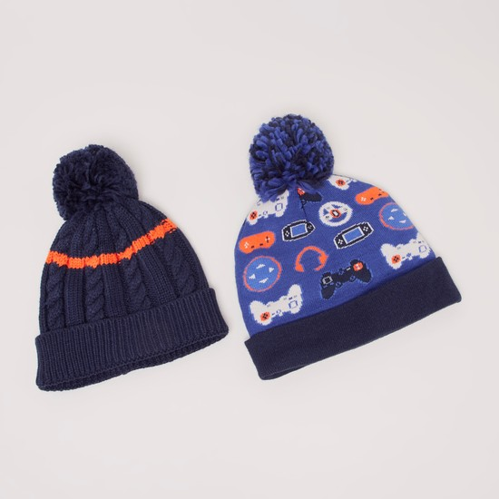 Set of 2 - Printed Beanie Cap with Pom-Pom Detail