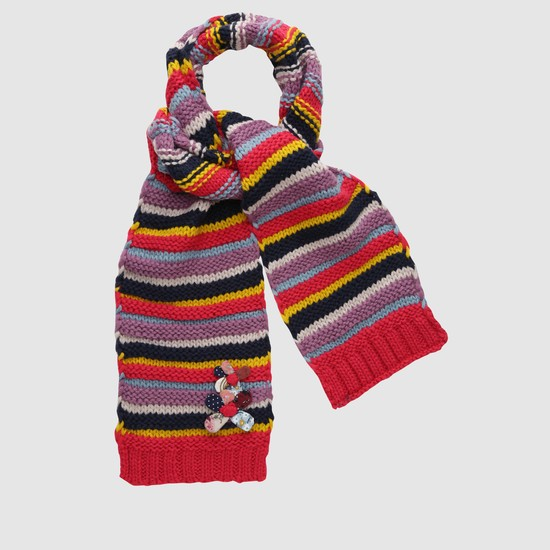 Striped Scarf with Floral Applique