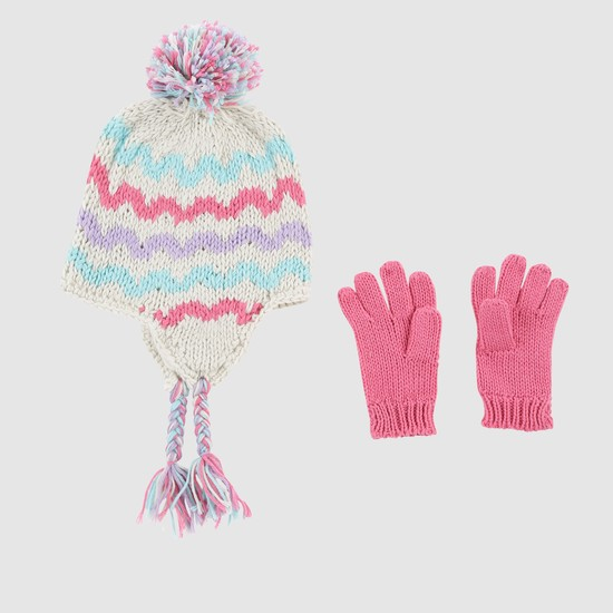 Textured Cap and Gloves Set