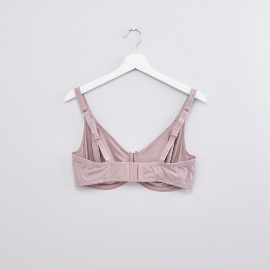 Bow Detail Bra with Adjustable Straps and Hook and Eye Closure