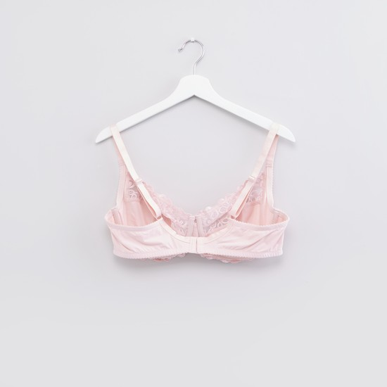 Lace Detail Bra with Hook and Eye Closure