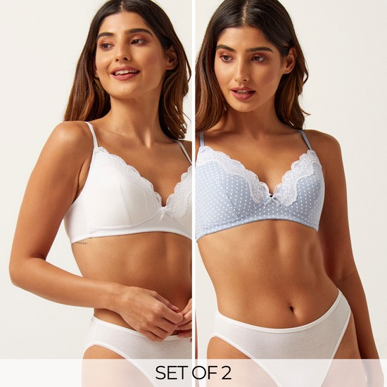 Set of 2 - Lace Detail Padded Plunge Bra with Hook and Eye Closure