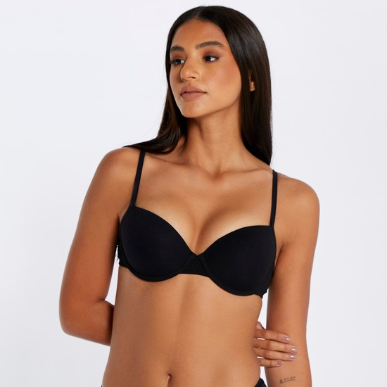 Padded Balconette Bra with Hook and Eye Closure