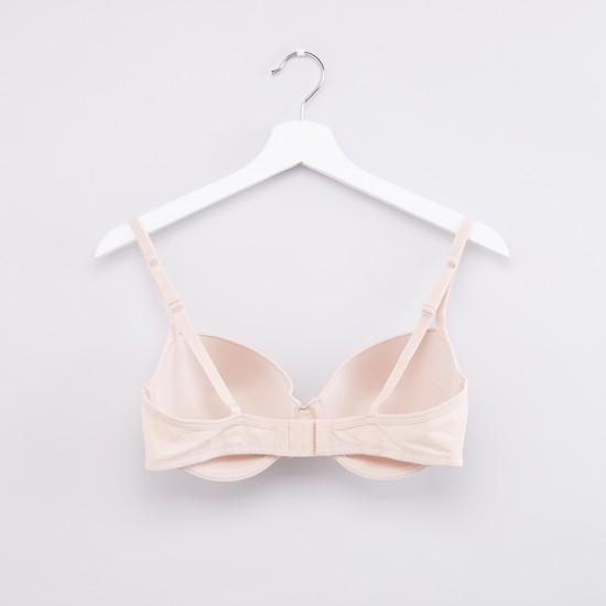 Bow Detail Padded Bra with Hook and Eye Closure