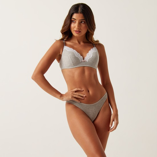 Lace Detail T-Shirt Bra with Hook and Eye Closure - Set of 2
