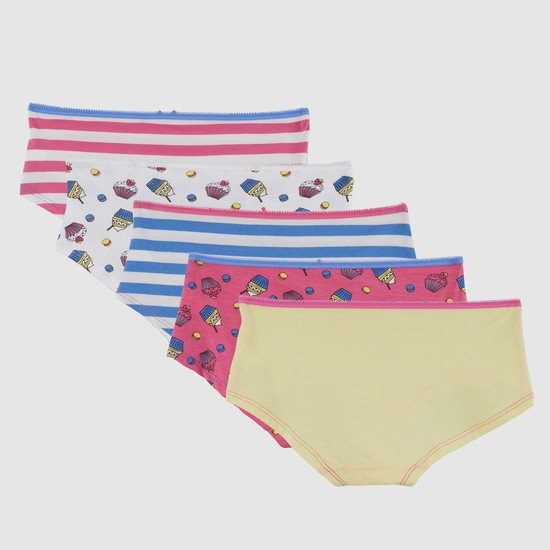 Printed Briefs with Elasticised Waistband - Set of 5