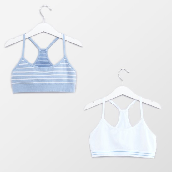 Set of 2 - Striped Racerback Bra