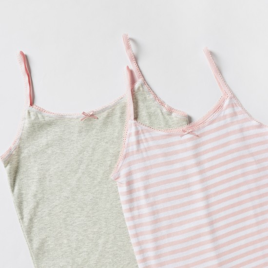 Lace and Bow Detail Vest - Set of 2