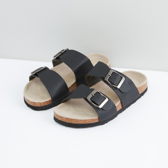 Textured Slides with Buckle Detail