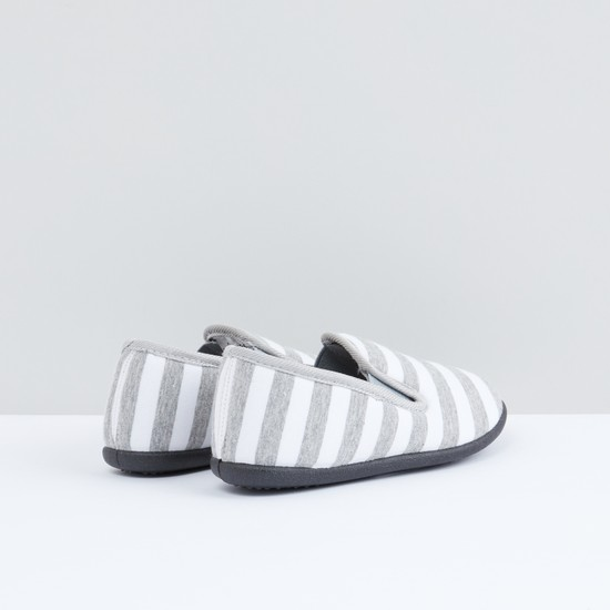 Striped Slip-On Shoes with Elasticised Gussets