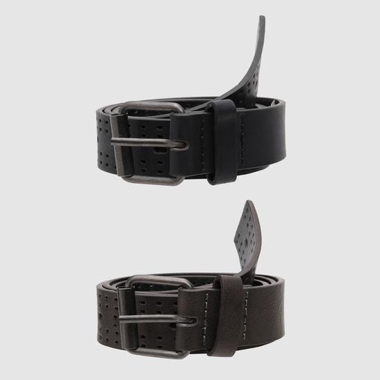 حزام كاجوال بارز الملمس بتفاصيل مفرّغة
