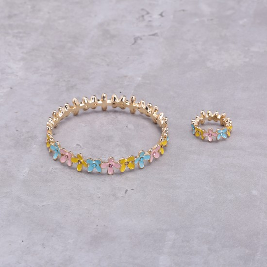 Floral Bracelet and Ring Set