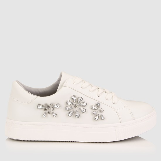 Embellished Sneakers with Lace-Up Closure