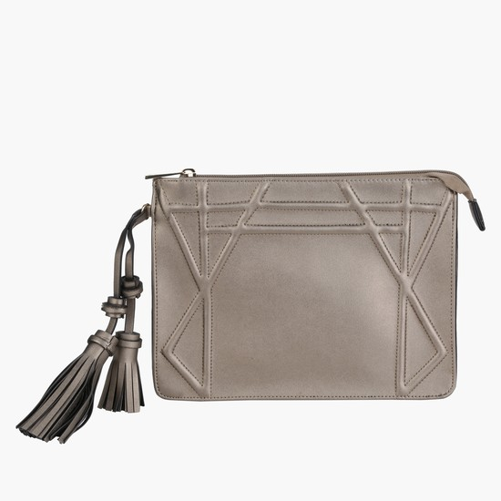 Embossed Hand Bag with Zippered Closure and Tassels